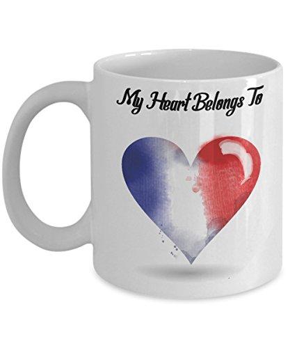 French Mug French Coffee Mug French Pride My Heart Belongs to France - 11 oz White Ceramic Cup