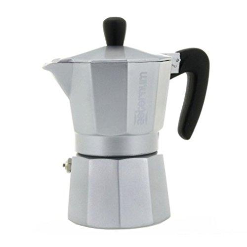 Aeternum Allegra - Stovetop Espresso Maker - Aluminium w Black Acrylic Handle Knob - Silver - 3 Cups