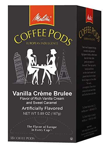 Melitta Single Cup Coffee Pods for Senseo Hamilton Beach Brewers Vanilla Crème Brulee Flavored Medium Roast Coffee 18 Count