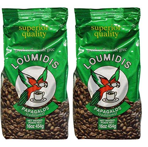 Loumidis Greek Ground Coffee Papagalos Traditional 2 Pack 16 Ounces