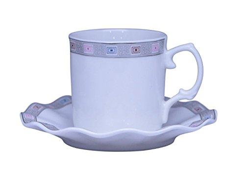 Porcelain Bone China Espresso Turkish Coffee Demitasse Set of 6 Delicate Pattern Cups  Saucers Silver Greek Key