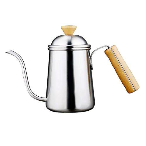 Jili Online Kitchen Gooseneck Kettle 650ml Pour Over Coffee Tea Drip Pot w Wood Handle