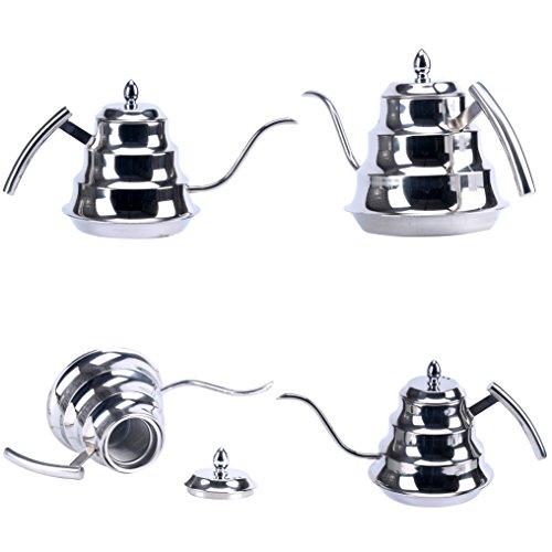 YaeKoo 12L Stainless Steel Coffee Drip KettleGooseneck Stainless Steel Drip Pot for Coffee Tea Silver