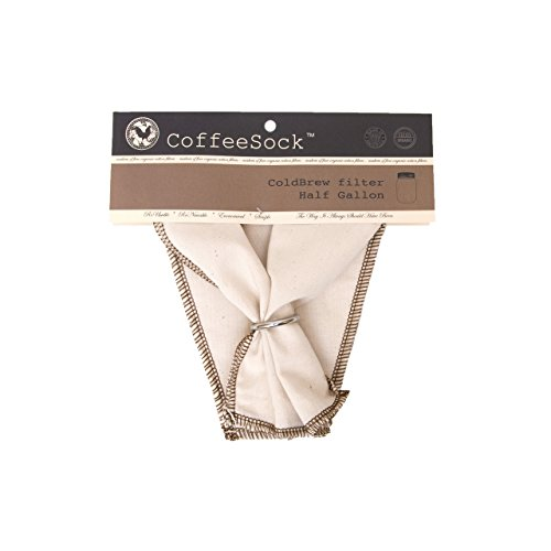 CoffeeSock ColdBrew Filter - GOTS Certified Organic Cotton Reusable Coffee Filter 64 OUNCE