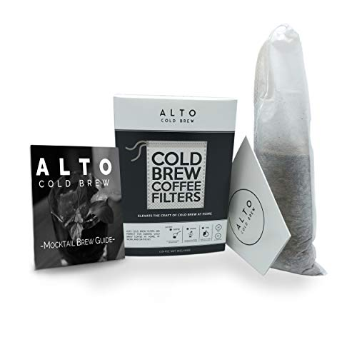 No Mess Disposable Cold Brew Coffee Filters - 35 PACK - Bonus Cold Brew Mocktail Brew Guide - Cleaner Brighter Cold Brew Without the Cleanup - 2 QUART PITCHER SIZE