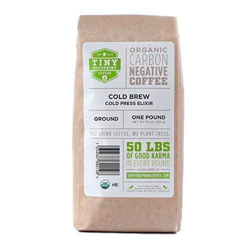 Tiny Footprint Coffee -  Organic Cold Brew Cold Press Elixir  Ground Coffee  USDA Organic  Carbon Negative  16 Ounce