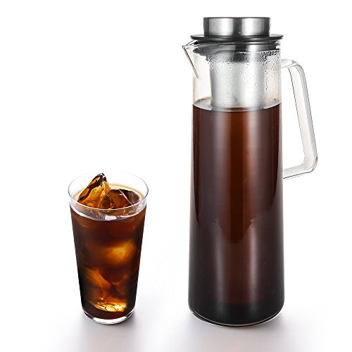 Cold Brew Iced Coffee Maker TOP-MAX Airtight Cold Brew Coffee Maker and Tea Pitcher with Spout - 10L  34oz Brewing Glass Coffee Carafe With Removable Stainless Steel Filter