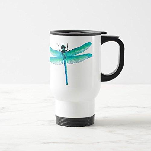 Zazzle Blue Green Dragonfly Mug White TravelCommuter Mug 15 oz