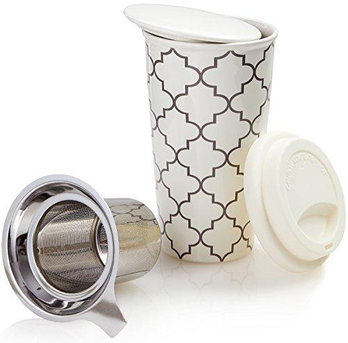 Ceramic Travel Mug with Lid Trellis Double-Walled Tea Cup with Tea Infuser and Bonus Silicone Top Tall Coffee and Tea Mug Single Steeps Tea Cups Loose Leaf Tea - 12oz Tea Mugs Tea Steeper