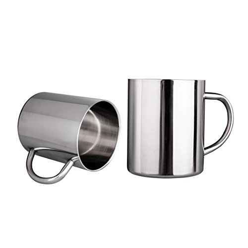 IMEEA 11 Oz 300ml Brushed Stainless Steel Double Wall Coffee Mugs Tea Cups Set of 2