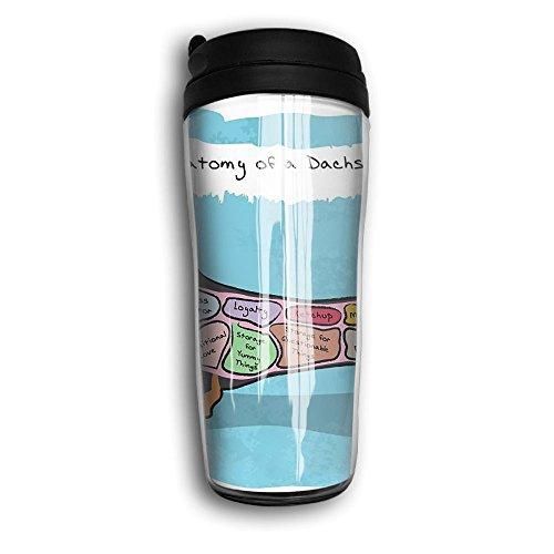 Tumbler Travel Mug Anatomy Of A Dachshund Design Plastic Mug Insulated Both Cold Hot Drink Car Mug For Home Sport With Lid 12 Oz 350 Ml