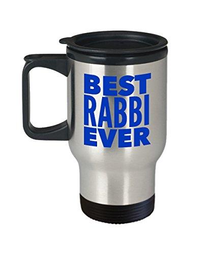 Best Rabbi Ever Travel Mug – Blue – The Perfect Insulated Coffee Tumbler Cup Teacher Gift Idea – Happy Hanukkah Present