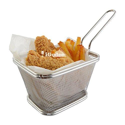 iGodee French Fries Basket Food-grade Stainless Steel Fryer Basket Serving Basket Restaurant Home Kitchen Food Presentation Tableware INF0011