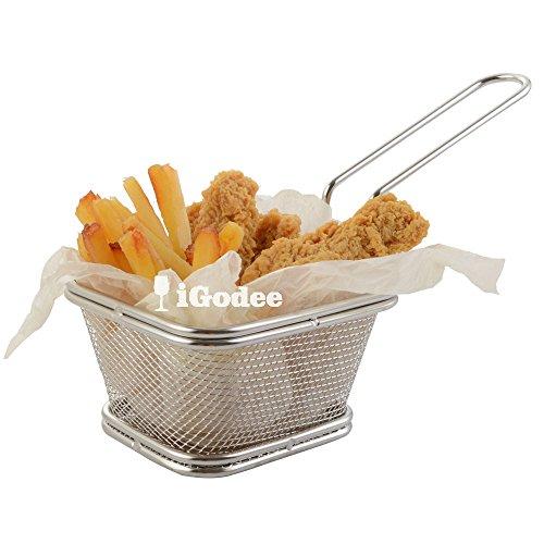iGodee Fryer Basket Food-grade Stainless Steel Mini French Fries Chicken Basket Restaurant Serving Basket Home Kitchen Food Presentation Tableware INF0010