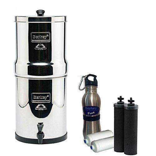 Royal Berkey Water Filter 3 Gallon System Bundle 2 Black BB9 Filters 2 Fluoride PF2 Filters 1 Stainless Steel Water Bottle