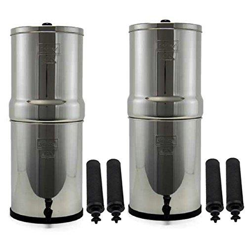 Berkey Combo - 2 Imperial Berkey Stainless Steel Water Filtration Systems w 4 Black Filter Elements - 5 OFF