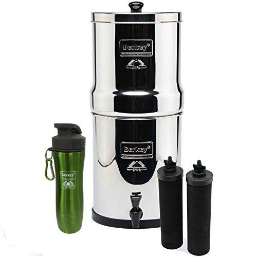 Big Berkey Stainless Steel Water Filtration System w 2 Black Filters and Berkey Stainless Steel Bottle - Green 21 Gallon Big Berkey