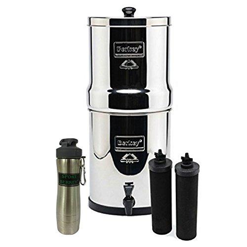 Big Berkey Stainless Steel Water Filtration System w 2 Black Filters and Berkey Stainless Steel Bottle - Silver