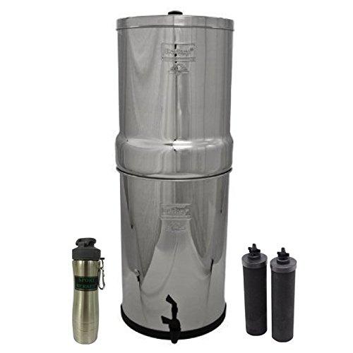 Crown Berkey Stainless Steel Water Filtration System w 2 Black Filters and Berkey Stainless Steel Bottle - Silver