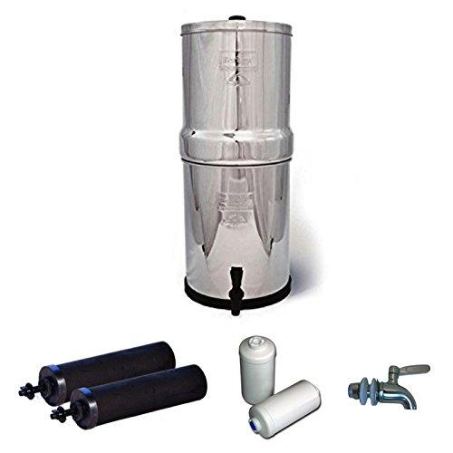 Royal Berkey Stainless Steel Water Filtration System w STAINLESS STEEL SPIGOT  2 Black Filters  2 Fluoride Filters 3 Gallon Royal Berkey