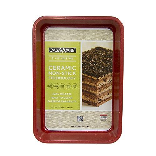 casaWare Ceramic Coated NonStick 9 X 13 x 2-Inch Rectangular Cake Pan Red Granite