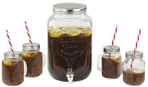 Home Basics Glass Beverage Dispenser with 4 Mason Jar Mug Set