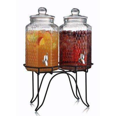 Home Essentials 1842 Del Sol Hammered Jug Beverage Dispenser With Rack Set Of 2