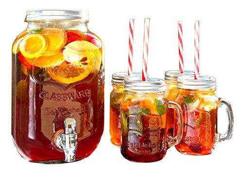 Wees Beyond 5340S Mason Jar Beverage Dispenser Set Clear