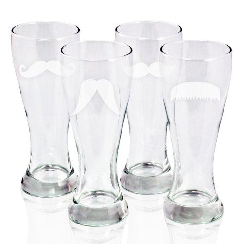 Cathys Concepts Gentlemans Mustache Pilsners Beer Glass Set of 4