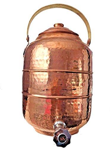 Copper Water Pot Dispenser 26 gal  98 ltr Tank w Tap Faucet Kitchen Yoga
