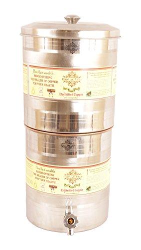 IndianArtVilla 200 X 80 Steel Copper Water Pot Tank with Filter 50 ML15000 ML - Storage Water Home Hotel Restaurant Good Health Benefit Yoga Ayurveda