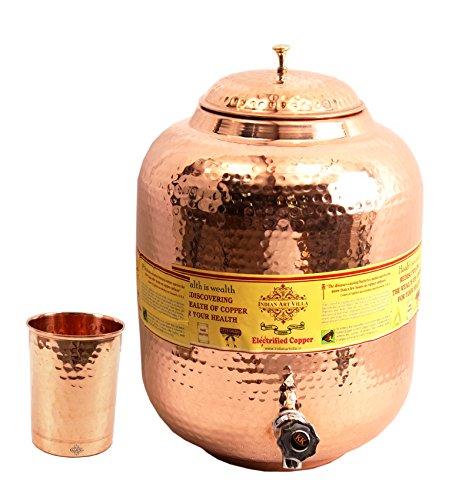 IndianArtVilla Handmade Pure Copper Water Pot Tank Matka 10 Liter 1 Flate Ha