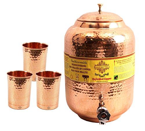 IndianArtVilla Handmade Pure Copper Water Pot Tank Matka 55 Liter 3 Flate H