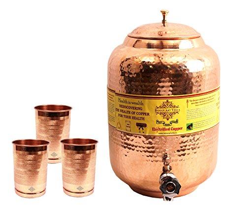 IndianArtVilla Handmade Pure Copper Water Pot Tank Matka 55 Liter 3 Glass T