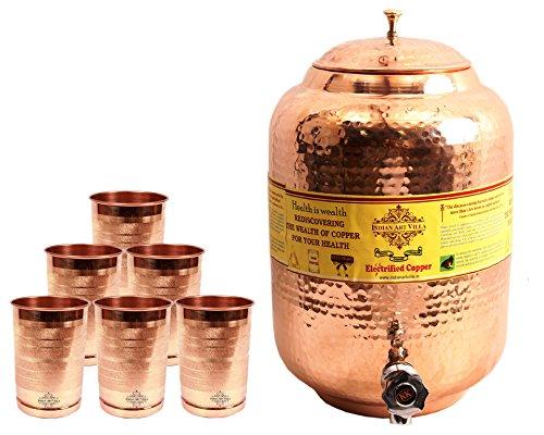 IndianArtVilla Handmade Pure Copper Water Pot Tank Matka 55 Liter 6 Glass T