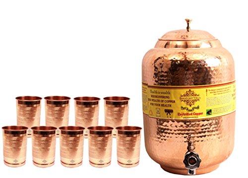 IndianArtVilla Handmade Pure Copper Water Pot Tank Matka 55 Liter 9 Glass T