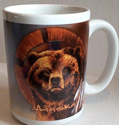 Alaska Earthenware Sprit Brown Bear Mug Coffee Cup 16 Oz