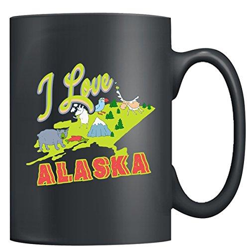 Alaska Mug Ceramic - I Love Alaska Coffee Mugs Tea Cup Black Mug 15oz Little Gifts For Someone Special