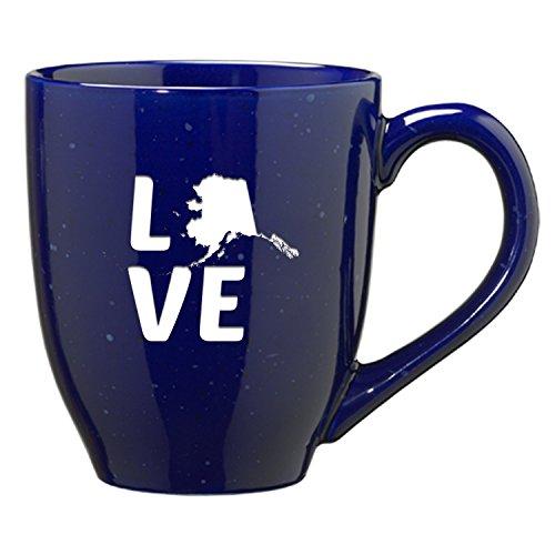 Alaska-State Outline-Love-16 ounce Ceramic Coffee Mug -Blue