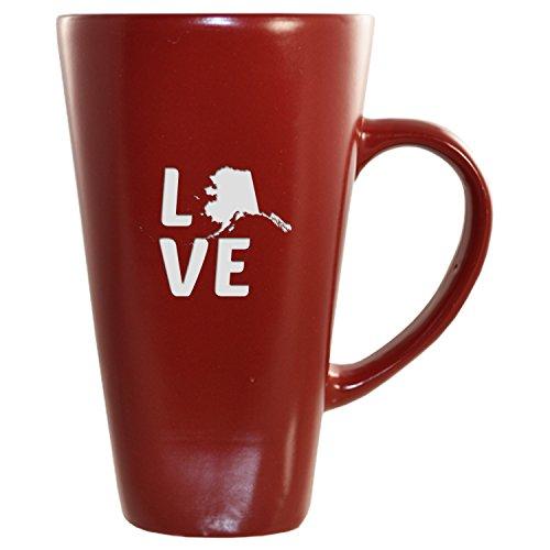 Alaska-State Outline-Love-16 oz tall Ceramic Coffee Mug-Cardinal