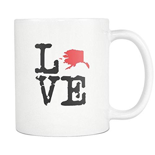 State of Alaska Coffee Mug - AK State Love Ceramic Coffee Cup - White - 11oz