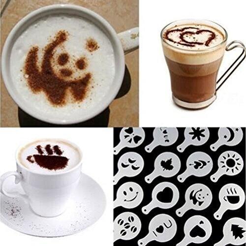 Drhob Hot 16Pcs Coffee Latte Art Stencils DIY Decorating Cake Cappuccino FoamTool CN Color White