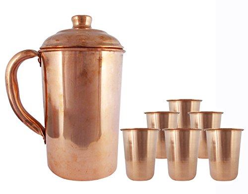 Copper Jug with Set of 6 Tumbler Handmade Glasses Pitcher Tableware Kitchen Utensil