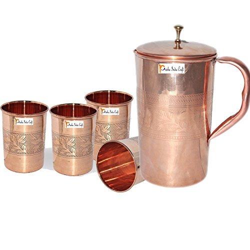 Prisha India Craft Best Quality Pure Copper Jug  Handmade Jug 1600 ML  5410 oz  with Four Glass Drinkware Set of Jug and Glass - Copper Jug Glass Set - Tumbler Set - Christmas Gift
