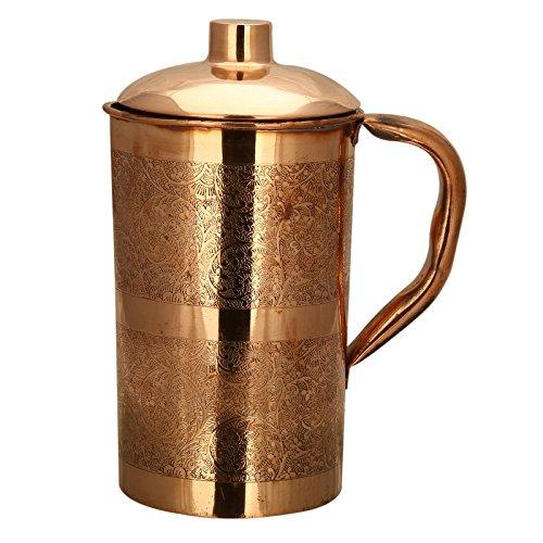 RUSTIK CRAFT Embossed Pure Copper Jug 460 Grams Height-8 Inchset of 1