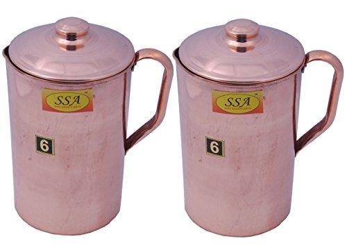 SHIV SHAKTI ARTS 2 Copper Jug Set For Ayurveda Health Benefits