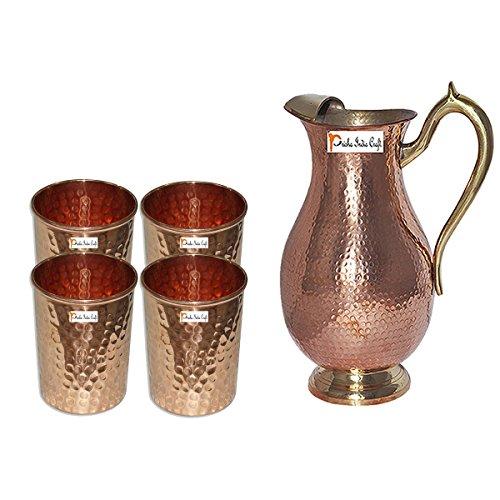 Prisha India Craft Copper Jug  Royal JUG 2000 ML  6763 oz  with Four Glass Drinkware Set of Jug and Glass - Copper Jug Glass Set - Tumbler Set - Christmas Gift