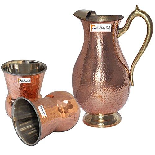 Prisha India Craft Copper Jug  Royal JUG 2000 ML  6763 oz  with Two Glass Drinkware Set of Jug and Glass - Copper Jug Glass Set - Tumbler Set - Christmas Gift