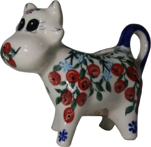 Polish Pottery Ceramika Boleslawiec 0501282 Royal Blue Patterns 13-Cup Cow Creamer Red Berries and Daisies
