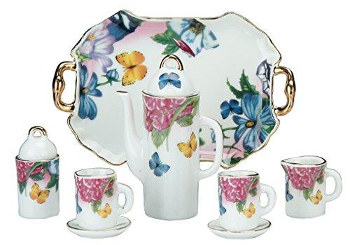 Miniature Collectible BUTTERFLIES FLOWERS Porcelain Tea Set Teapot Sugar Bowl Creamer 2 Teacups Serving Platter